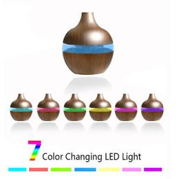 Luci per uffici online-Depuratore 200ml Aroma olio essenziale diffusore umidificatore ad ultrasuoni con Grana del legno 7colors forma mutevole luci a LED per Office Home