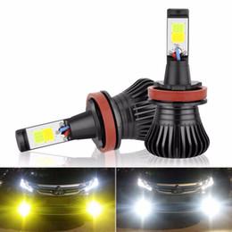 2020 желтый h11 противотуманные фары 2X H11 H8 H9 светодиодные противотуманные фары DRL лампы, двойной ColorWhite и желтый в одном дизайне белый и Янтарный переключатель свободно, 12V 2800LM авто лампы скидка желтый h11 противотуманные фары