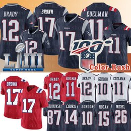 Tom jersey on-line-12 Tom Brady New Englan Patriots Jersey # 17 Antonio Brown Jersey 11 Julian Edelman 87 Rob Gronkowski 26 Sony Michel 10 Josh Gordon