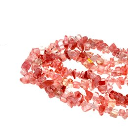 chip stone jewelry wholesale Promo Codes - Natural Stone Irrguluar Freeform Cherry Quartzs Chips Beads Fit Jewelry DIY Necklaces or Bracelets 15inches