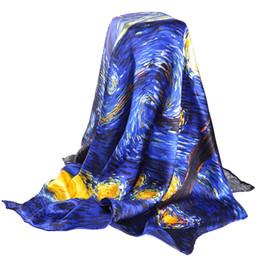 Vernice a olio scura online-Sciarpa di seta reale blu 100% per le sciarpe del progettista di marca delle signore Primavera Autunno Van Gogh Pittura a olio sciarpe quadrate impacchi 90 * 90 cm