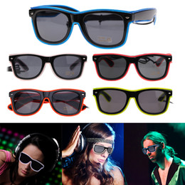 party glow supplies Coupons - Flashing Glasses EL Wire LED Glasses Glowing Party Supplies Lighting Novelty Gift Bright Light Festival Party Glow Sunglasses