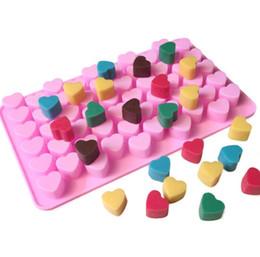 cisne de fondant Desconto Silicone Forma De Coração De Chocolate Molde Gummy Candy Maker Bandeja De Gelo Geléia Molde 55 Cavidade Cozinha Sobremesa bolo bakeware ferramentas de cozimento rosa