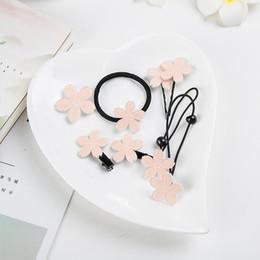 2019 anelli di fiore di ciliegio Carino Cherry Blossoms Girl Hair Ring Tornante Tiara Piccola Ragazza Fresca Capelli Ornamenti Cherry Blossoms Clip di Capelli Spilla VVA292 anelli di fiore di ciliegio economici