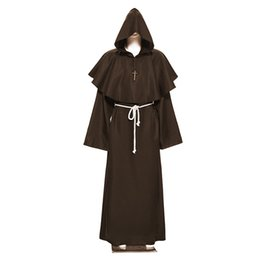 New Monk Costume Medieval Priest Fancy Dress Hooded Clergy Robe Religious UK