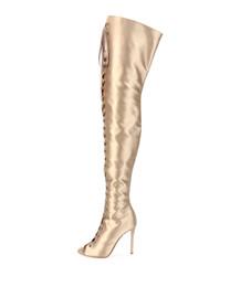 2019 joelho aberto Sexy Sobre O Joelho Botas Elegantes Mulheres 2019 Lace Up Elegante Dedo Do Pé Aberto Sapatos de Salto Alto Moda Botas Coxa Botas Altas Do Partido Sapatos de Moto desconto joelho aberto