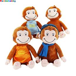 giocattolo di scimmia animale farcito Sconti 30CM CURIOUS GEORGE Scimmia Peluche Bambole Giocattoli Animali di peluche Peluche Regali per bambini C5