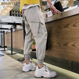 Cargo Pants Men's Clothing Pants Men Full Length Simple Solid All-match Pockets Leisure Daily Korean Style Cargo Pant Mens Ulzzang Soft Hip Hop Trousers