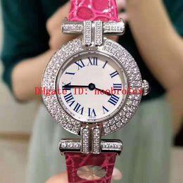 Senhoras relógios de prata on-line-Ladies New Liber assistir Quartzo Suíço Movimento 18k platina nunca desaparece do diamante moldura Sapphire Roman escala numeral relógio mulheres diamante