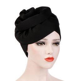 chemo hair hat Promo Codes - Muslim Women Cotton Big Flower Turban Hats Cancer Chemo Beanies Cap Hijab Pleated Wrap Head Cover Hair Loss Accessories