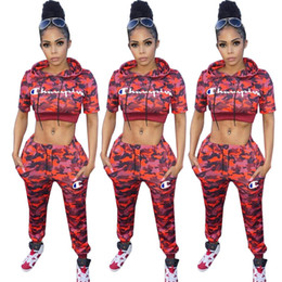 70570f717477 Discount camouflage ski pants - Women Champions Letter Camouflage Tracksuit  Short Sleeve Hooded Pants Outfit 2