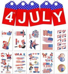 5.7 * 9.7cm Étanche drapeau américain tatouage autocollant Jour de l'indépendance dessin animé enfants enfants art du corps composent des outils 10 styles B11 ? partir de fabricateur