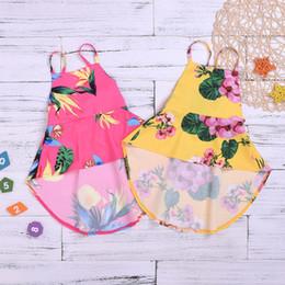 2019 lindos vestidos de niñas pequeñas Vestido de estampado floral lindo V065 de las niñas pequeñas y medianas de 3-8 años de Europa y América. lindos vestidos de niñas pequeñas baratos