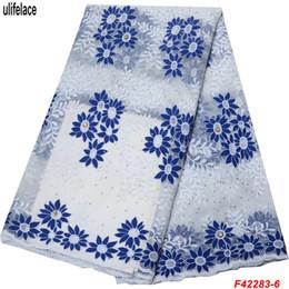Malha de malha barata on-line-Preço barato Leite Branco de Malha de Tecido de Renda de Malha de Alta Qualidade Africano Tecido de Renda Líquida Tecido de Renda Nigeriano Para O Vestido De Casamento F4-2283