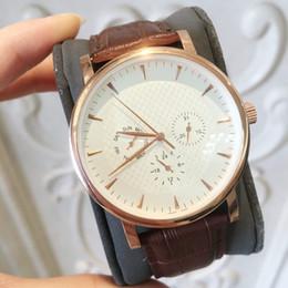 regarder des articles Promotion TOP mode populaire Quartz Man montre de haute qualité luxe Business montre-bracelet en cuir marron tout travail du cadran Étanche nouvelle horloge masculine Hot Item