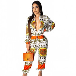 women african jumpsuit Promo Codes - 2019 Women Long Jumpsuit Ladies Long Sleeve Rompers Female Casual Plus Size African Print Overall Playsuit With Pocket