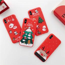 noël iphone santa Promotion Pour l'iphone Xs Max Xr X 8 plus 2018 cadeau de Noël Elk Bear couverture de téléphone Belle Santa Cases