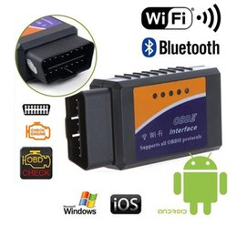 bluetooth bluetooth Promotion WIFI Bluetooth ELM327 Scanner Adaptateur Sans Fil OBD2 Auto Scanner WIFI Scanner Outil pour IOSAndroid V1.5 BHT