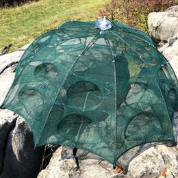 Cages à poisson en Ligne-Filet De Pêche Automatique Cage À La Crevette En Nylon Pliable Crabe Piège À Poisson Moulé Filet Moulé Réseau De Pêche Pliable4 / 6/8/10/12/16/20 Trous