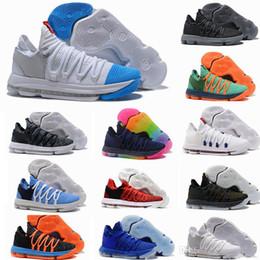 online store 2028d 9c4a3 2017 neue Ankunft KD 10 X Oreo Vogel von Para Basketball Schuhe für Hohe qualität  Kevin Durant 10 s Bounce Airs Kissen Sport Sneakers Größe 7-12