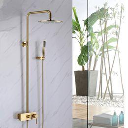 Docce fredde calde online-Miscelatore Bagno oro spazzolato vasca in ottone miscelatore doccia doccia oro caldo e freddo mixer bagno doccia