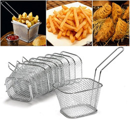 francês, fritar, cesta Desconto Classis Hot New Kitchen Chef de Aço Inoxidável Cesta Mini Fry Cestas Fritadeira Cozinhar Cestas De Batatas Fritas