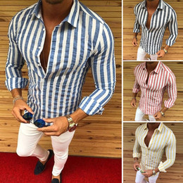 59535b1d 2019 Men Luxury Casual Slim Fit Stylish Formal Dress Shirts Striped Skirt  Long Sleeve New M-XXXL #449524