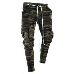 Bolsillo grande online-Hombres Camuflaje Lápiz Diseñador Jeans Moda Bolsillos grandes Diseño de cremallera a rayas Pantalones de Jean delgados