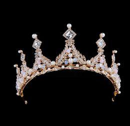 Décoration de mariage haut de gamme, cristal, style européen, or, couronne, couronne, diadème, diadème, cheveux, accessoires, fête, anniversaire, accessoires de mariage ? partir de fabricateur