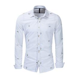 2019 padrões da camisa da luva dos homens longos Mens Designer Bordado Camisas Pequeno Lâmpada Padrão Masculino Magro Camisa Homme Manga Comprida Casual Tops padrões da camisa da luva dos homens longos barato