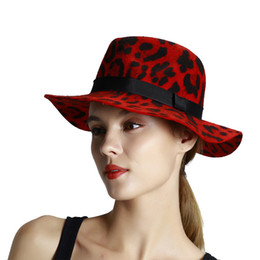 ladies dome hat style Promo Codes - Hat Lady 2019 Autumn And Winter New Style Leopard Print Hat Womens Wool Big Brimmed Hat Fashion Purple retro travel