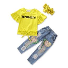 Argentina nuevos estilos trajes de verano para niños mangas cortas puras hoja de loto camiseta + jeans con agujeros en lentejuelas + diadema tres sets niñas Suministro