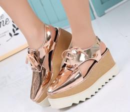 Платформа Stella Elyse с вырезом на платформе Оксфорд Туфли на платформе со шнуровкой на танкетке Кожаная обувь на танкетке с квадратным носком женские сандалии 33-41 v1 от Поставщики клин-оксфорды женская обувь