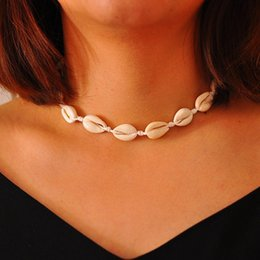 Gargantilla declaración collar plata online-Cowrie Shell Gargantilla Seashell Jewelry Weaved Gold Silver Ajustable Declaración Collares para Mujeres Playa Regalo de vacaciones