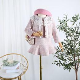 Детская одежда 2019 осень новые девушки небольшой Бриз кружева поддельные из двух частей платье с длинным рукавом кардиган куртка комплект от