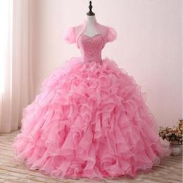 2019 платья с изображением 2019 реальные изображения розовые кристаллы Quinceanera платья возлюбленной органзы оборками милая сладкие платья бальное платье на заказ U131 дешево платья с изображением