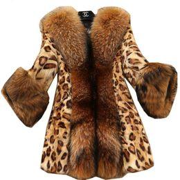Casaco de peles de mink de tamanho mais on-line-2018 mulheres plus size 6xl imitação de vison cabelo leopardo impressão casacos de peles médio longo boutique imitação guaxinim gola de pele casaco