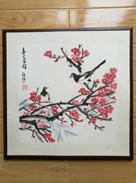 Pittura a fiore incorniciata online-Pittura cinese originale incorniciata, Plum Blossom, Blossom Painting, Magpie painting