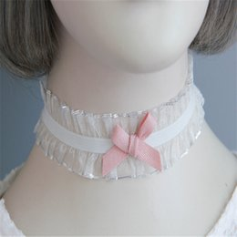 Wholesale Pink bowknot lace necklace party dress accesorios fashion joker chain short neckband jewelry para mujeres