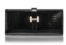 senhoras carteiras de moda Desconto Crocodile imprimir couro elegante senhora bolsa feminina carteira nova carteira de couro feminino.