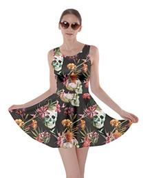 Vestiti di zucchero online-CowCow Womens Sugar Skull Flowers Floral Skeleton Abito messicano giorno delle rose morte a pieghe, XS-5XL