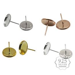 2019 cabochoni diy Aiovlo 925 Sterling Silver Earring Studs Base Bezel, Fit 12mm Cabochons in vetro Accessori Fai gioielli fai-da-te cabochoni diy economici