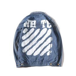 Argentina OFF Marca para hombre Chaqueta de mezclilla Diseñador de moda Chaquetas Hombres Motocicleta de lujo Chaqueta de mezclilla Hip Hop Azul Jean abrigo blanco popular alta calidad cheap jacket brand blue Suministro
