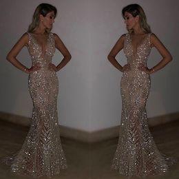 Sexy See Through русалка вечерние платья длинные 2018 блестящие блестки бисером золото Пром платья партии блеск коктейльное платье дешевые F3657 от