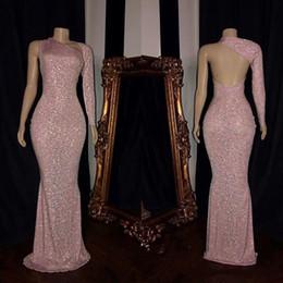 vestido rosa rosa longo Desconto 2019 New Luxury Rose Pink Lantejoulas Sereia Vestidos de Noite de Um Ombro Mangas Compridas Backless Até O Chão Formal Vestidos de Festa de Desgaste do baile de finalistas