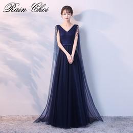 2019 платья с изображением Настоящее изображение темно-синее вечернее платье с длинным 2019 V шеи элегантные вечерние платья из тюля Vestido De Festa Longo дешево платья с изображением