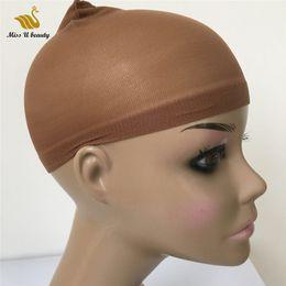 Capelli per parrucca online-Cuffia per parrucca deluxe 24 pezzi HairNet per parrucche Cuffia per parrucca di colore nero marrone scuro per indossare parrucche Snood Nylon Mesh Cap