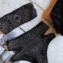 Biquini de cor prateada on-line-2018 Explosão de Cintura Alta Biquíni Lady Split Swimwear Sexy Hot Silver Cor Sólida Biquíni Sportswear Swimwear Roupas Femininas