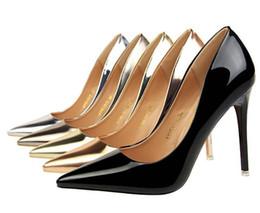 amerikaner mode high heels Rabatt Point Toe Pumps Gummi American Fashion Metallabsatz High Heel Schuhe Damen High Heel flache spitze sexy Nachtclub schlanke einzelne Schuhe