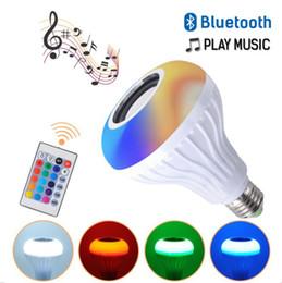 la goccia d'acqua ha portato le luci di notte Sconti E27 B22 smart LED RGB senza fili Bluetooth Speakers lampadina della riproduzione musicale dimmerabile 12W Music Player audio con 24 chiavi telecomando